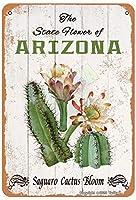アリゾナSaguaroカクタスの状態の花は、部屋、寝室、バスルーム、庭、クラブ、ショップ、屋外、農家の金属ビンテージスズの壁の装飾12 x 8インチ