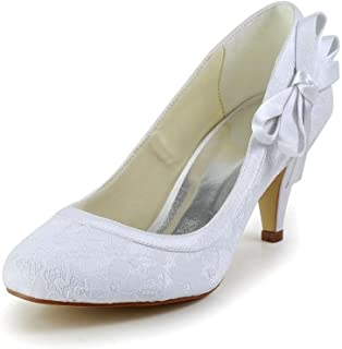 JIAJIA 594946 Women's Bridal Shoes Closed Toe Mid Heel Satin Pumps Bowknot Wedding Shoes