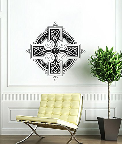 Celtic Cross Wall Decal Celtic Cross Decals Wall Vinyl Sticker Home Interior Wall Decor for Any Room Housewares Mural Design Graphic Bedroom Wall Decal Bathroom (5847)