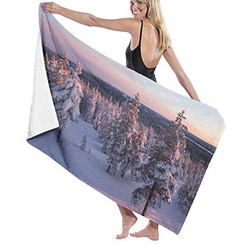 NINEHASA Toalla de Playa de Microfibra,Laponia de Invierno y árboles nevados al Atardecer,Toalla Deportiva Secado Rápido Absorbente para Deportes Viajes Playa Camping