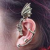 Baost 1Pc Women Creative Retro Gothic Punk Etched Dragon Shape Ear Wrap Ear Cuff Earring Non Pierced Ear Cuff Wrap Clip Stud Ear Crawler Earring Jewelry Gift for Women Girls Silver