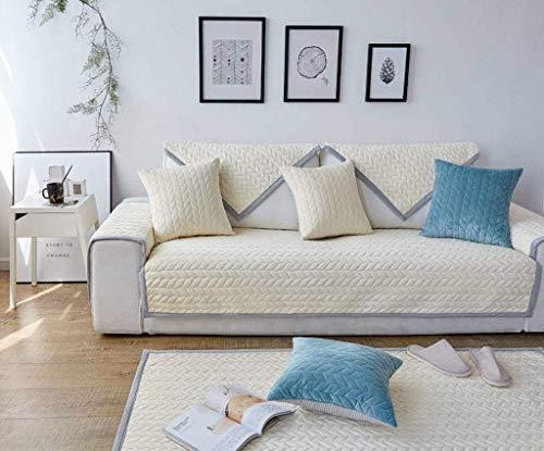 Jonist Funda de sofá de Franela Antideslizante, Protector de Muebles de cojín de Asiento Simple para Sala de Estar dormitorio-blanco-70180cm