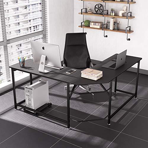 Dripex Bureau d'angle, Bureau Informatique Ordinateur Table d'étude en Forme de L, Style Industriel-Noir 154.94 x 154.94 x 74.42 cm