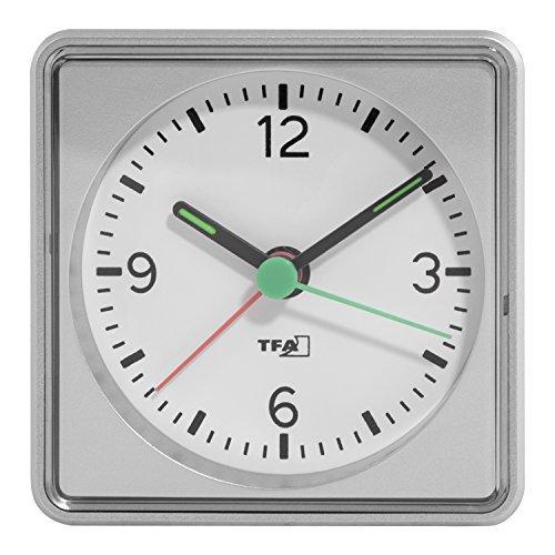 TFA Dostmann Elektronischer Wecker 60.1013.54, ansteigender Alarmton, leises Uhrwerk, mit Hintergrundbeleuchtung, silber