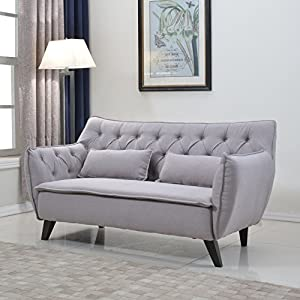 "Tufted elegant yet modern mid century sofa Includes 2 decorative pillows with dark wooden legs to complete the look Soft linen fabric upholstery with raw exposed stitched edges Dimensions: 59""w x 31""d x 32""h inches, Seat width: 49"" inch, Seat depth: ..."
