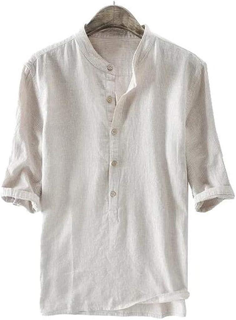 Men's Cotton Linen Henley Shirt 3/4 Sleeve Casual Summer Solid Color Stylish Beach Regular Fit Hippie T Shirts Tops