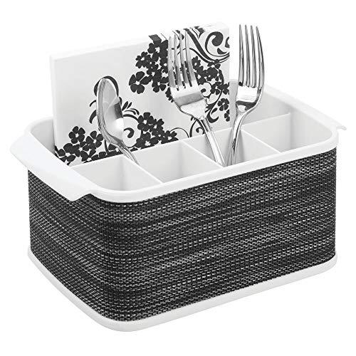 mDesign Portaposate da tavolo - Contenitore posate decorativo per cucina, sala da pranzo, giardino e picnic - Porta posate plastica con 5 scomparti - bianco/grigio scuro