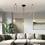 Lámpara de cuerda de cáñamo, lámpara colgante con casquillo E27, para salón, cocina, bar, cimento, almacén, granja (3LIGHTS-B)