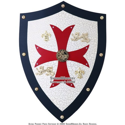 "Knight Templar Brass Cross Shield 30/"" 18Gauge Battle Armor Heater Shield Replica"
