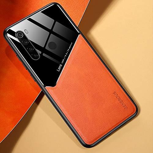 Phone case design FOR For TL Xiaomi redmi Nota 8 con Todo Incluido Cuero + Orgánica Caja del teléfono de Cristal con la Hoja de Metal de Hierro Xiaomi (Color : Orange)