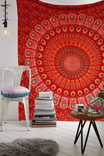 raajsee Tapiz rojo mandala para colgar en la pared, manta de algodón indio, tapices hippie, decoración bohemia, ropa de cama de yoga