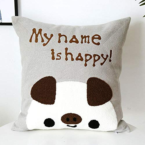 Cartoon Embroidered Cushion Living Room Sofa Cushion Cover Without Core Waist Square Pillow@Embroidered Happy Pig Pillow_45*45 (separate pillowcase)