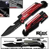9' Tactical Assisted Open Red Survival 7 in 1 Rescue Pocket Knife LED Light Fire Starter Blade Sharpener Bottle Opener