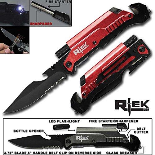 9' Tactical Assisted Open Red Survival 7 in 1 Rescue Pocket Knife LED Light Fire Starter Blade Sharpener Bottle Opener