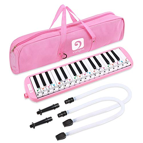 Vangoa 32 Key Melodica Instrument Pianica Pink Portable Air Piano with Cleaning Cloth, Key Stickers, Double Short Mouthpieces, Plastic Long Pipes and Carrying Bag for Beginners Kids Gift