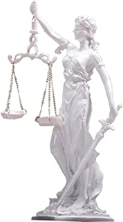 Blind Lady Justice Statue Sculpture - Greek Roman Goddess of Justice, White Resin Crafts Desk Family Lawyer Gift Collection
