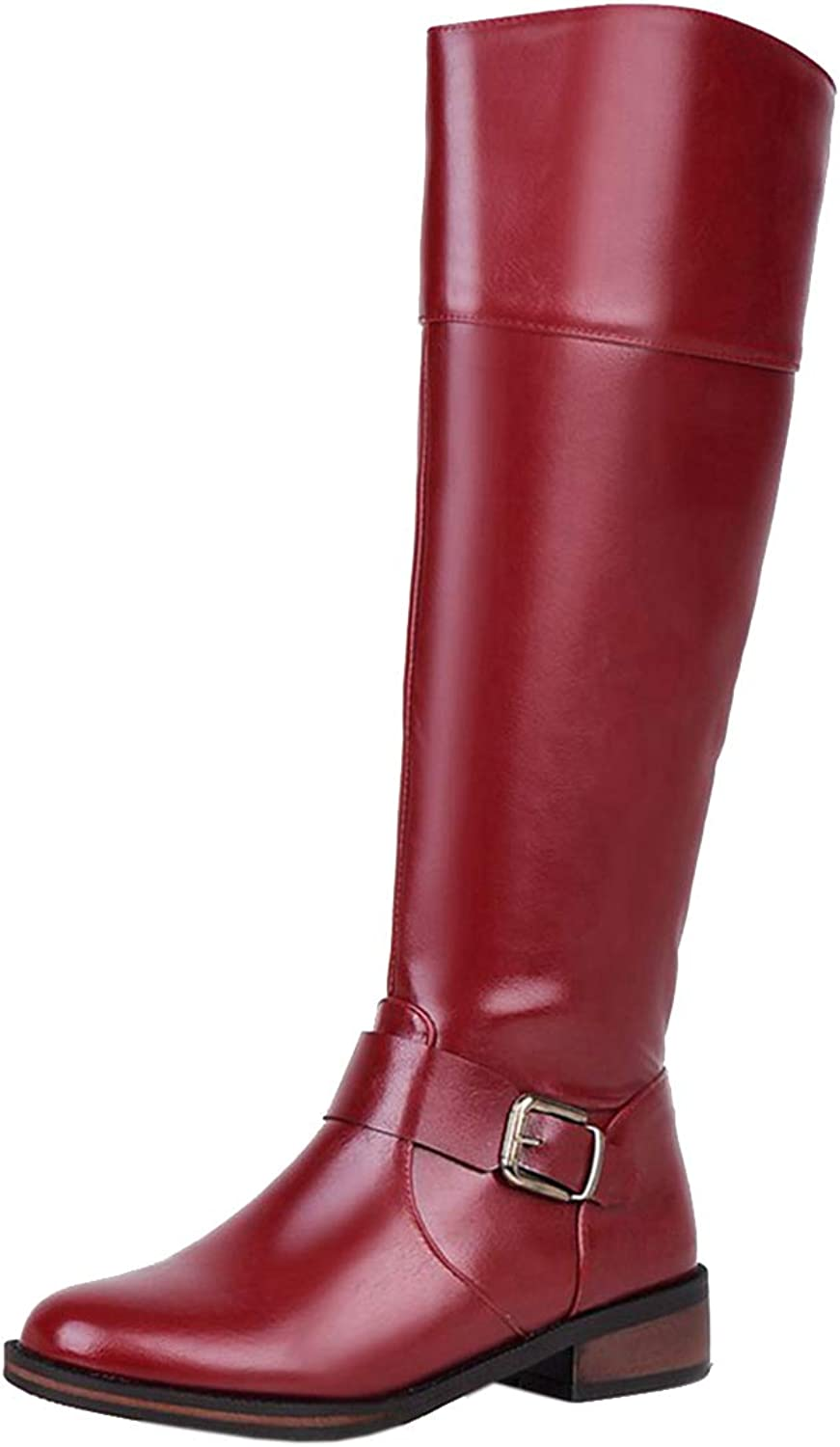 Vitalo Womens Low Block Heel Zip Up Knee High Riding Boots