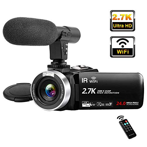 Video Camera 2.7K Full HD Camcorder with Microphone 30FPS WiFi IR Night...