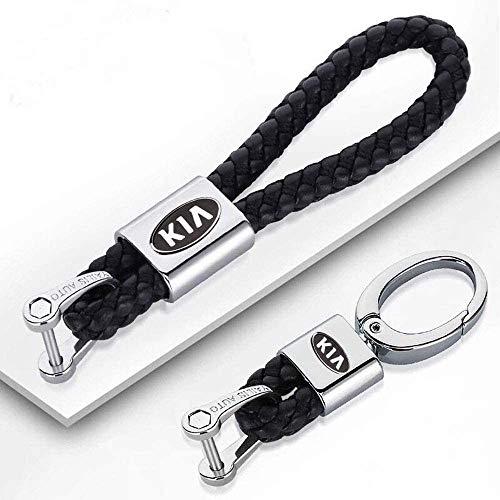 F.S 2pcs Auto Logo Schlüsselanhänger mit Geschenkbox, Leder Schlüsselanhänger für Damen und Herren (Schwarz, K-IA)