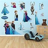 Cartoon Olaf Sven Kristoff Hans Prince Anna Elsa Princess Frozen Wall Stickers Home Decoration Anime Movie Mural Art Kids Decals