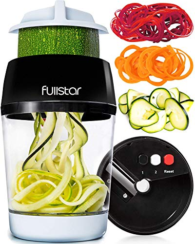 fullstar Vegetable Spiralizer Vegetable Slicer - 3 in 1 Zucchini Spaghetti Maker Zoodle Maker - Veggie Spiralizer Adjustable Handheld Spiralizer - Zucchini Noodle Maker Spiralizer with Container