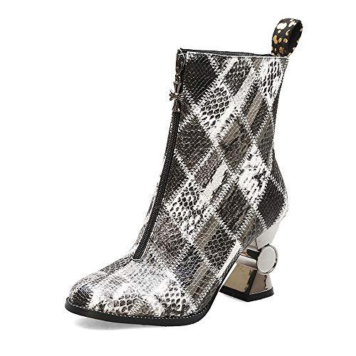 DENGSHENG SHOPS Martin laarzen voor herfst en winter, dameslaarzen met hoge hakken en diepe laarzen, maat 34-44, 44 EU, Een
