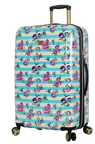 Betsey Johnson 26 Inch Checked Luggage Collection - Expandable Scratch Resistant (ABS + PC) Hardside Suitcase - Designer Lightweight Bag with 8-Rolling Spinner Wheels (Stripe Floral Hummingbird)