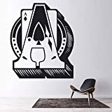 AQjept Spiel Wandtattoo Wohnzimmer Pik-Ass Design Solitaire Spiel Vinyl Wandaufkleber Schlafzimmer Modern Home Decor67x80cm