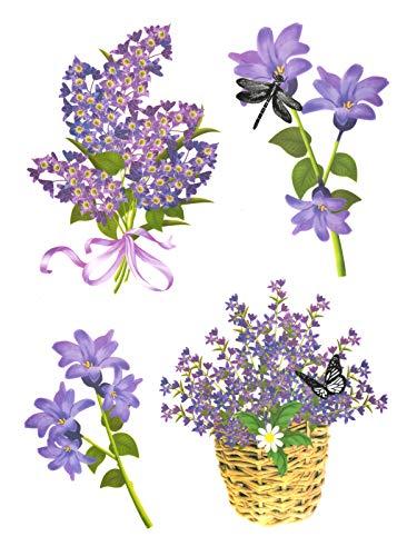dpr. Fensterbild Set 4-TLG. Blumen Blüten Schmetterling Libelle Fenstersticker Fensterdeko