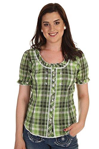 Unbekannt Orbis Damen Bluse Kurzarm Trachtenbluse kariert mit Stickerei und Rüsche 51003-3150 51 grün Gr. 40