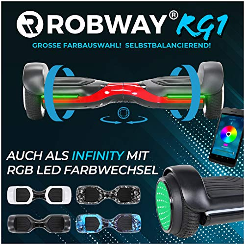 Robway Rg1 Hoverboard - Das Original - Self e Balance - 2 x 350 Watt Motoren – Led 16 Mio Farben - Bluetooth – App - Lithium Akku (Schwarz/Rot)