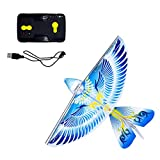 eBird Blue Pigeon - Flying RC Bird Drone Toy for Kids. Indoor / Outdoor Remote Control Bionic Flapping Wings Bird Helicopter. USB Recharging.