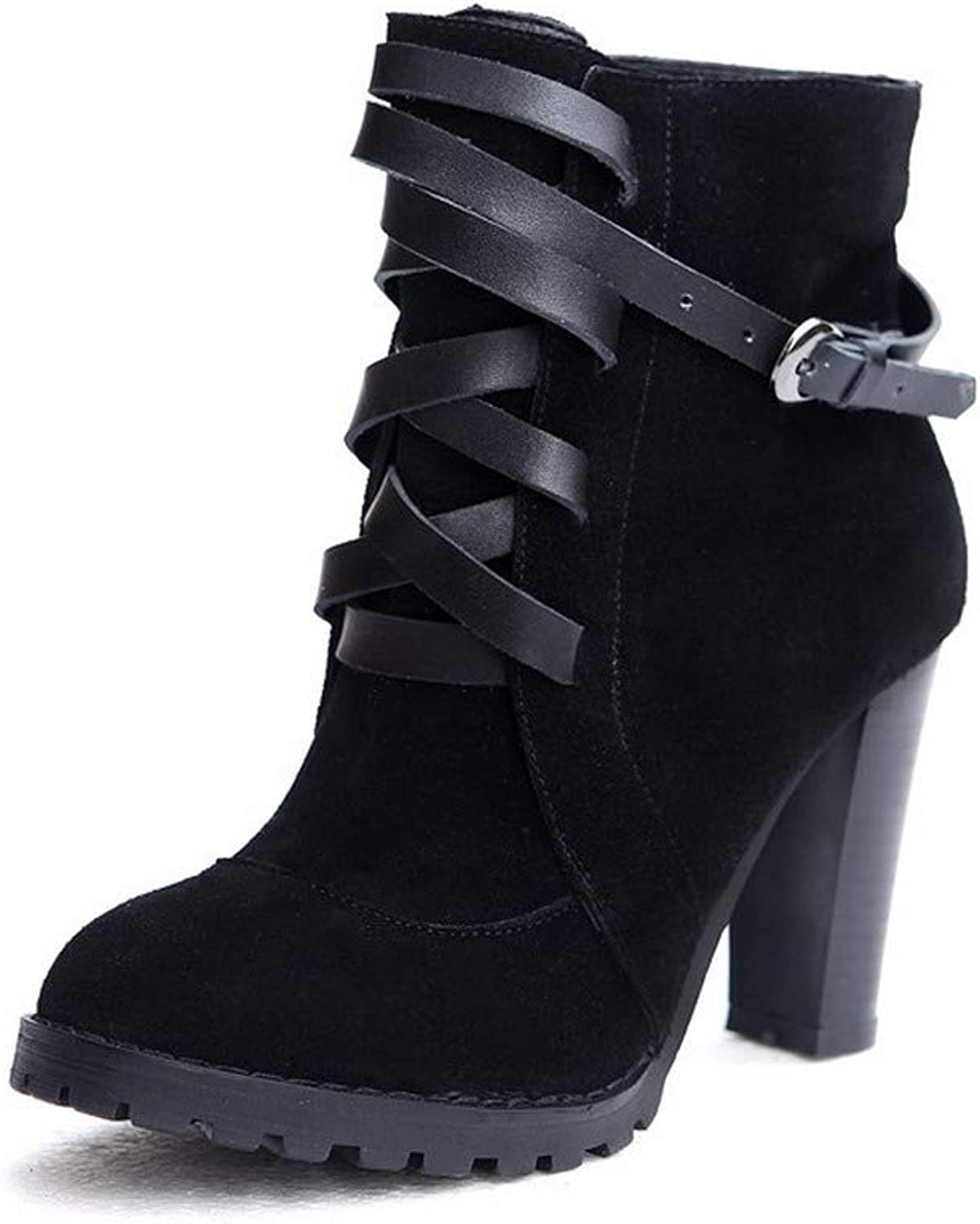 AmoonyFashion Women's Buckle Round-Toe High-Heels Frosted Low-Top Boots, BUTXT019322