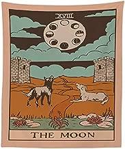 Amknn - Tapiz con diseño de la Bandera del Tarot del Sol, la Luna y la Estrella, de algodón Bohemio, Hecho a Mano, para Colgar en la Pared, Moon Tapestry, 150 x 130cm