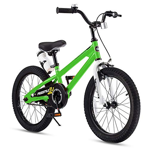 RoyalBaby Kids Bike Boys Girls Freestyle BMX Bicycle With Kickstand Gifts for Children Bikes 18 Inch Green