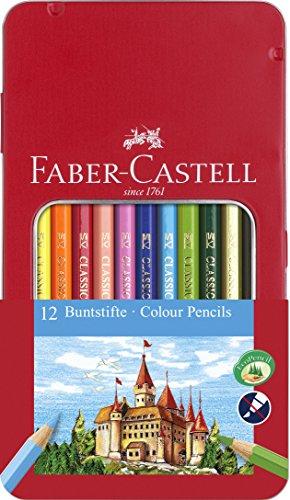 Faber-Castell 115801 - Buntstift Hexagonal, 12er-Metalletui