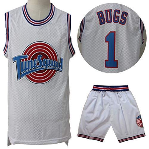 Bugs Tune Squad #1 Trikots,Basketball Sportbekleidung Swingman Edition Jersey Mesh Ball Wear Schnelltrocknen Unisex Ärmelloses T-Shirt Top Shorts Sets-White-S