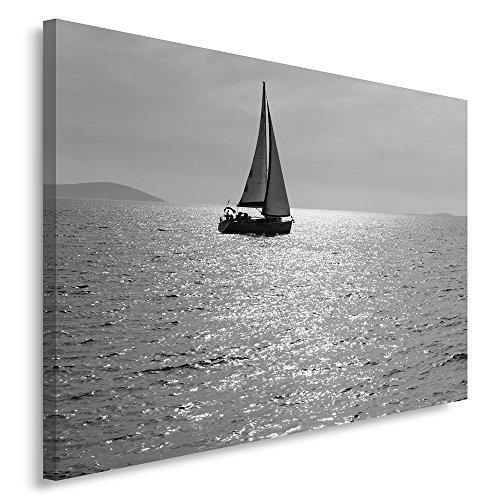 Feeby Frames, Quadro Pannelli, Pannello Singolo, Quadro su Tela, Stampa Artistica, Canvas 60x80 cm, Barca A Vela, Lago, Bianco E Nero