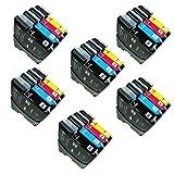 24 ECS - Cartucho de tinta compatible para impresoras Brother MFC-J220 MFC-J265W MFC-J410 DCP-J125 DCP-J315W DCP-J415W DCP-J415W DCP-J515W