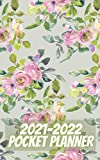2021-2022 pocket planner: 2 Year Monthly Pocket Planner, Agenda,Organizer with 24 Months Spread View with habit tracker, vision board, goal checklist ... pocket planner monthly floral design