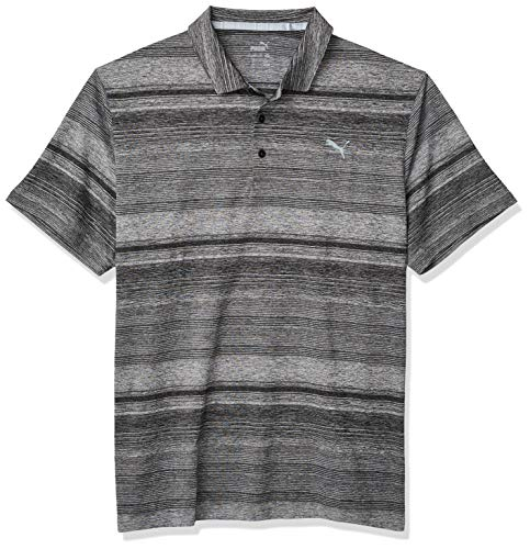 PUMA Golf 2020 Mens Variegated Stripe Polo PUMA Black Heather XX Large
