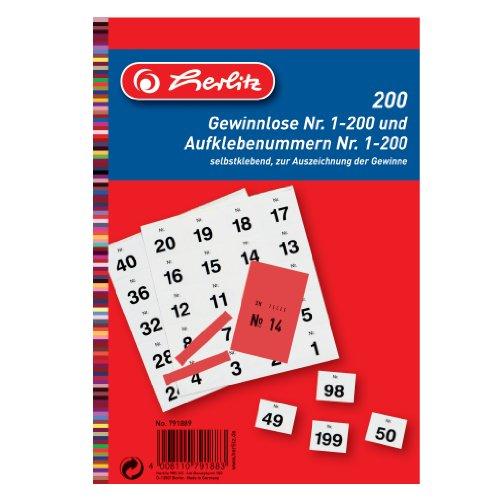 Herlitz 791889 Gewinnlos mit Aufklebenummern 1-200