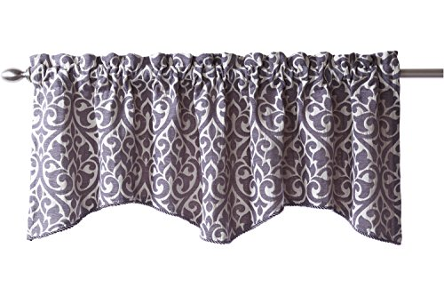 """Stylemaster Bryce Chenille Scalloped Valance with Cording, 55"""" X 17"""", Pewter"""