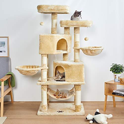 MSmask Kratzbaum Katzenbaum Katzenkratzbaum Aktivitätskratzbäume Kratzbäume Katzenmöbel mit Sisal-Seil Plüsch Liege höhlen Spielhaus für Katze Hängematte Liegebetten Liegemulden Spielzeug für Katzen