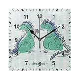 ISAOA - Reloj de pared silencioso sin tictac, diseño de dragones felices para el hogar, dormitorio, sala de estar, oficina, escuela