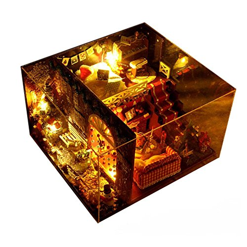 DIY Cottage Hut Baumhaus Karneval Nacht Hand montiert Spielzeug Weihnachten Geburtstagsgeschenk...