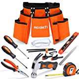 REXBETI 15pcs Young Builder's Tool Set with Real Hand Tools, Reinforced Kids Tool Belt, Waist 20'-32', Kids...