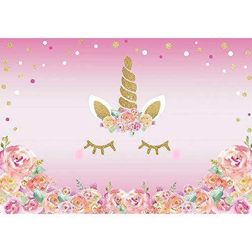 Allenjoy 7x5ft Pink Unicorn Theme Birthday Party Decoration Photography Backdrop and Studio Props Watercolour Flower Shine Gliter Gold Dot Background Newbron Baby Shower Banner Photo Shoot Booth
