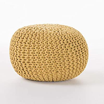Poona Handcrafted Modern Cotton Pouf, Yellow