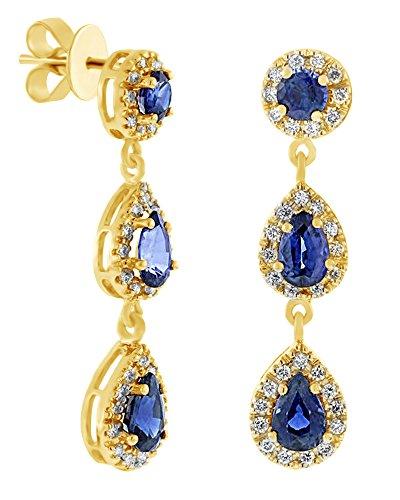 Orecchini pendenti in oro bianco massiccio 585 da 14 kt con zaffiri blu e diamanti naturali e Oro bianco, colore: bianco, cod. UK-M-CME14748-WG